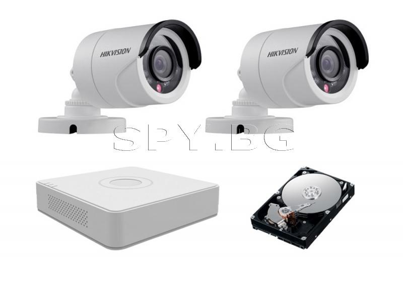 Комплект от 2 камери HIKVISION 1MP за двор и HDD 500GB